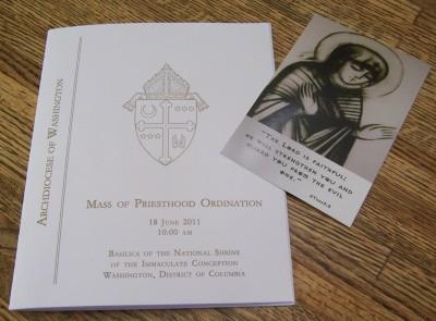 Program and Fr. Agustin's Ordination Card