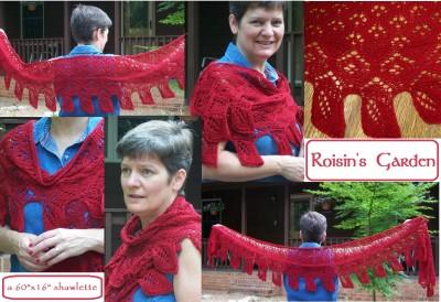 "Roisin's Garden Shawl -- a 60"" x 16"" shawlette"