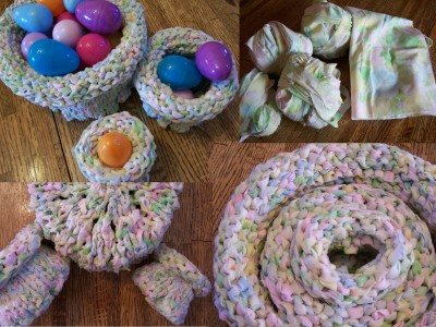 Three knitted, nested baskets made from a re-purposed sheet