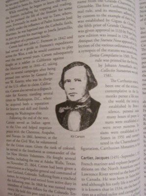 entry for Kit Carson - frontiersman, Indian agent and convert (at the age of 34)