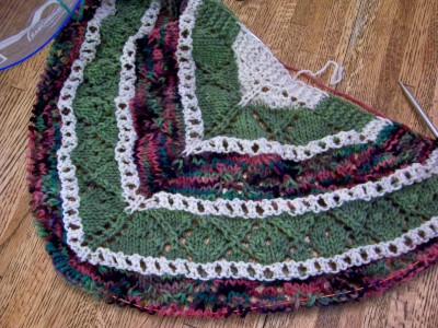 Hugs 'n' Kisses shawl ... a great start for this one
