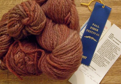 1st Place Ribbon - Handknit Non-wearable for Colleen's Cover.  Prize is a huge skein of handspun yarn in a lovely reddish-brown from Silverleaf Spinning (Louisa, VA)