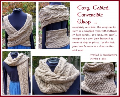 Cozy Cabled Covertible Wrap