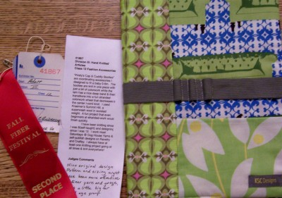 2nd Place ribbon - Kirsty's Cap and Cuddly Booties.  The prize was a removable journal cover from KSC Designs