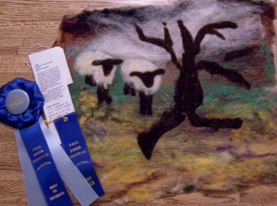 1st Place AND Best in Division ribbons for Nollage Seal.  Prize was a beautifully hand-felted wallhanging from Mad Maggie Farms