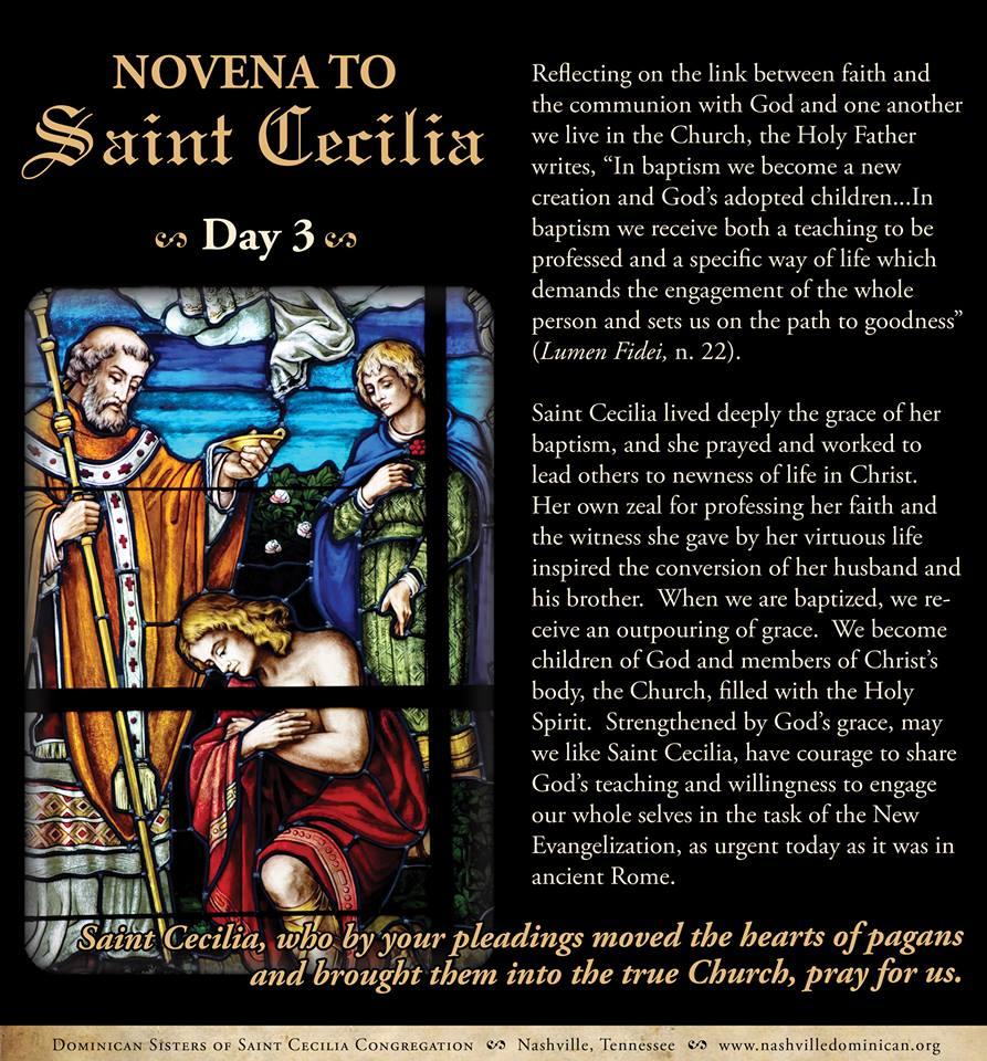 Day 3 of Novena to St. Cecilia
