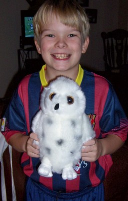 our soccer-loving (note the Messi outfit) and HP-fanatic (yes, that would be Hedwig) ...