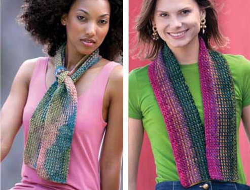 argyle-like knitting on the left and crocheted striping on the right