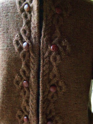 Celtic Closure cardigan - a wonderfully warm cardi with just a bit of fancy cabling on the front