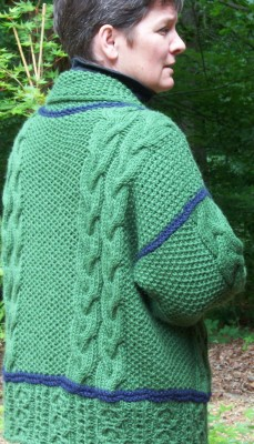 Ever Warm, Ever Cozy, Ever Green jacket - inspired by an Irish sweater bought in the Old Country!
