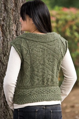 Memories of Eire vest - a knit-purl Celtic knot on the back with Aran-stitch patterns throughout