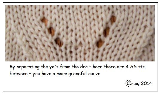 Decrease separated from the yarn-over
