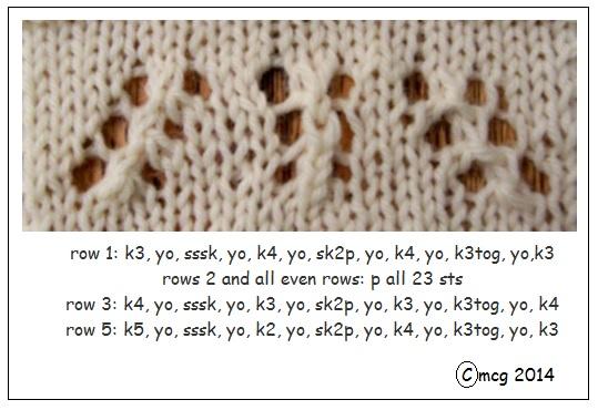 Double-decreases (from L to R:  yo, sssk, yo; yo, sl 1, k2, psso, yo; yo, k3tog, yo)