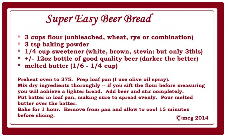 beer bread recipe card