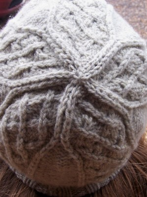 """""""cathedral window"""" crown of the watch cap in the January Aran Caps pattern"""