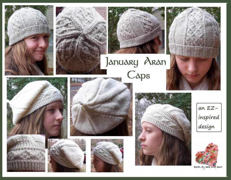 January Aran caps - a watch cap and a tam-o-shanter