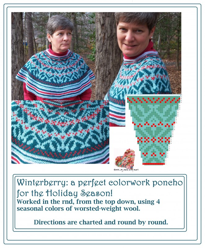 Winterberry ... a perfect colorwork poncho for the Holiday Season!