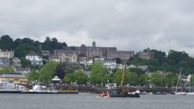 Dartmouth (with the Royal Naval College up on the hill)