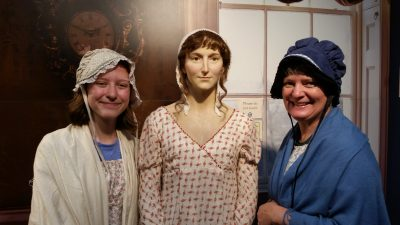 Playing dress-up with a life-size replica of Jane