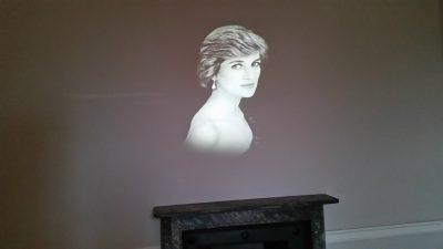Princess Di hologram in the Royal Fashions exhibit