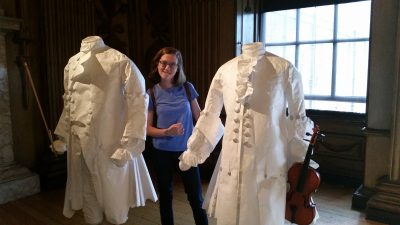 Some of the mannequins in the Ballroom (these outfits are made of PAPER that has been stiffened and made to drape like fabric)