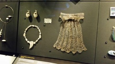 KNITTED jewelry in the Jewelry Exhibit hall ... done in fine real silver thread