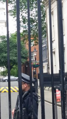 #10 Downing Street - where the Prime Minister ministers.  You used to be able to get closer ... but ....